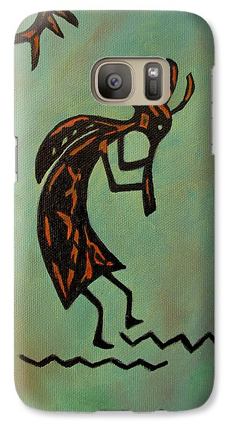 Galaxy Case featuring the painting Kokopelli Flute Player by Roseann Gilmore