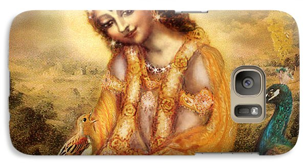 Galaxy Case featuring the mixed media Krishna With The Peacock Detail by Ananda Vdovic