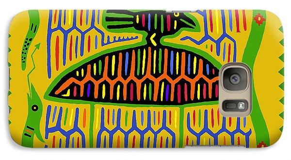 Galaxy Case featuring the digital art Kuna Bird With Snake by Vagabond Folk Art - Virginia Vivier