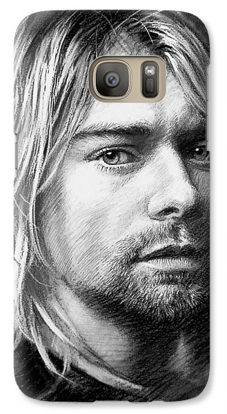 Galaxy Case featuring the drawing Kurt Cobain by Viola El