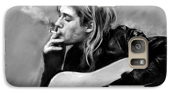 Galaxy Case featuring the drawing Kurt Cobain Guitar  by Viola El
