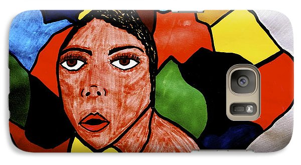Galaxy Case featuring the drawing La Artista by Chrissy  Pena