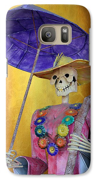 Galaxy Case featuring the photograph La Catrina With Purple Umbrella by Christine Till