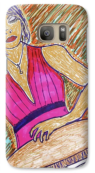 Galaxy Case featuring the drawing La Congera by Chrissy  Pena