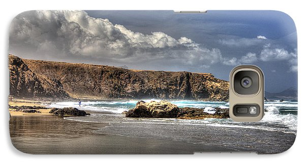 Galaxy Case featuring the photograph La Pared Cliff And Rocky Beach On Fuertaventura Island by Julis Simo