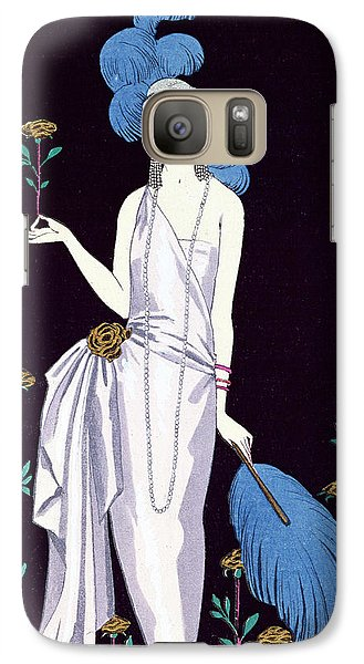 Ostrich Galaxy S7 Case - 'la Roseraie' Fashion Design For An Evening Dress By The House Of Worth by Georges Barbier