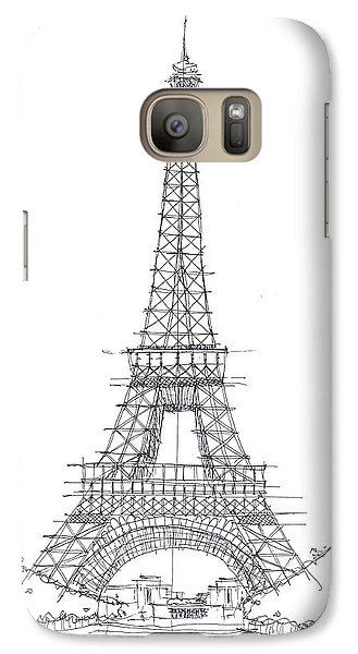 Galaxy Case featuring the drawing La Tour Eiffel Sketch by Calvin Durham