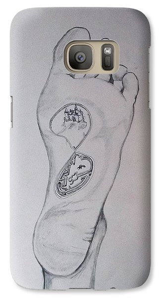 Galaxy Case featuring the drawing Labyrinth Foot Pie Laberinto by Lazaro Hurtado
