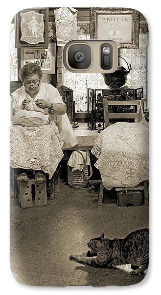 Galaxy Case featuring the photograph Lace Lady Of Burano-bw by Jennie Breeze