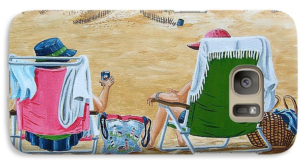 Galaxy Case featuring the painting Ladies On The Beach by Val Miller