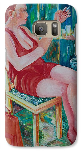 Galaxy Case featuring the painting Lady At Lunch by Giovanni Caputo