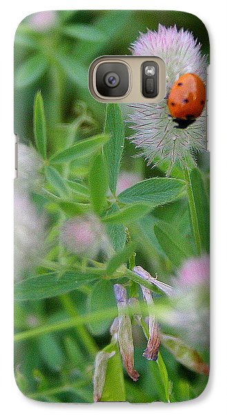 Galaxy Case featuring the photograph Lady Bug Among The Flowers  by Paula Tohline Calhoun