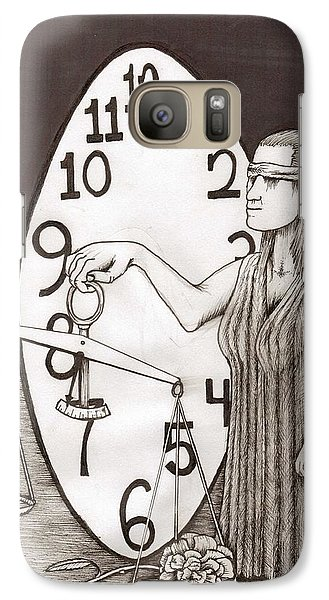 Galaxy Case featuring the painting Lady Justice And The Handless Clock by Richie Montgomery