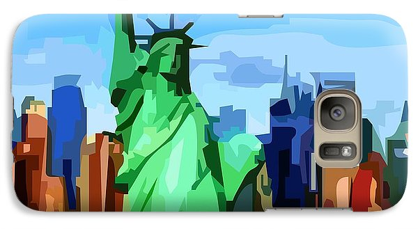 Galaxy Case featuring the digital art Lady Liberty by P Dwain Morris