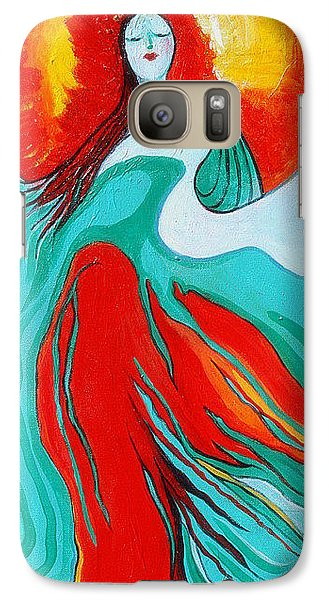 Galaxy Case featuring the painting Lady Of Two Worlds by Alison Caltrider