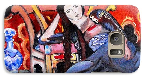Galaxy Case featuring the painting Lady Sitting On Floor by Helena Bebirian