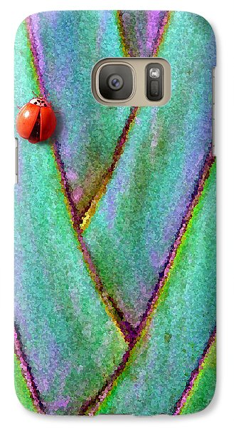 Galaxy Case featuring the photograph Ladybug On Palm by Mariarosa Rockefeller