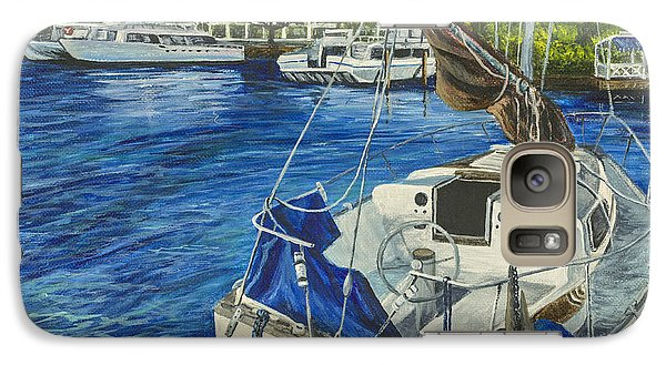 Galaxy Case featuring the painting Lahaina Yacht by Darice Machel McGuire