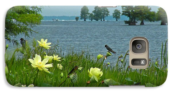 Galaxy Case featuring the photograph Lake Lotus And Swallows by Deborah Smith