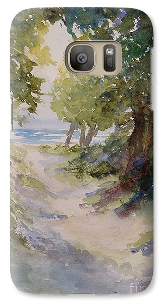 Galaxy Case featuring the painting Lake Michigan Beach Path by Sandra Strohschein