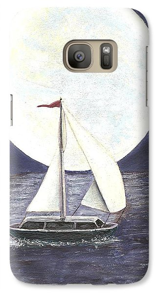 Galaxy Case featuring the painting Lake Michigan Full Moon by Dan Wagner