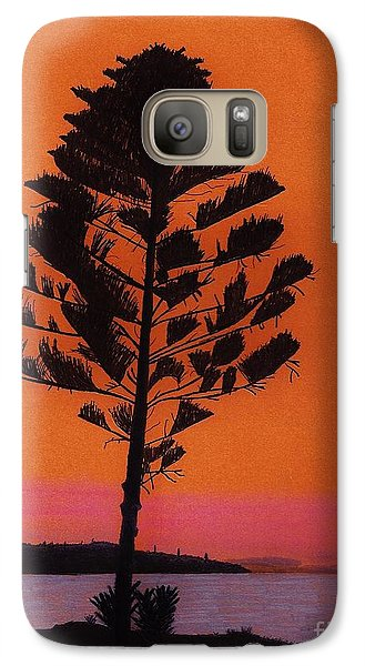 Galaxy Case featuring the drawing Lake Sunset by D Hackett