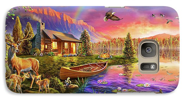 Galaxy Case featuring the drawing Lakeside Cabin  by Adrian Chesterman