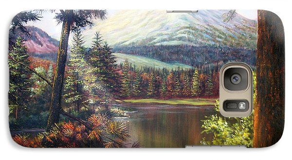 Galaxy Case featuring the painting Landscape-lake And Trees by Loxi Sibley