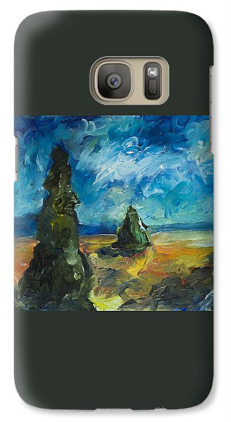 Galaxy Case featuring the painting Emerald Spires by Yulia Kazansky
