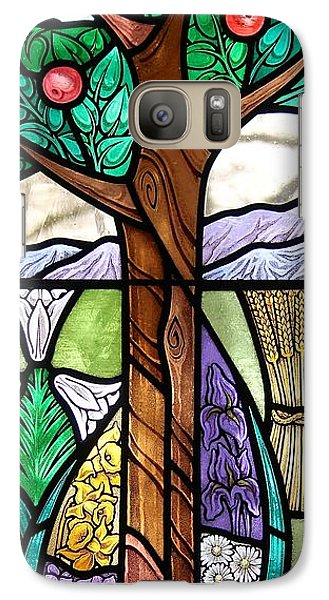 Galaxy Case featuring the glass art Landscape With Flora by Gilroy Stained Glass