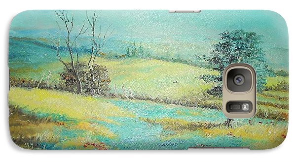 Galaxy Case featuring the painting Landscape With Lavanda  by Sorin Apostolescu