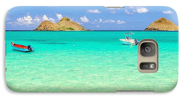 Galaxy Case featuring the photograph Lanikai Beach Two Boats And Two Mokes by Aloha Art