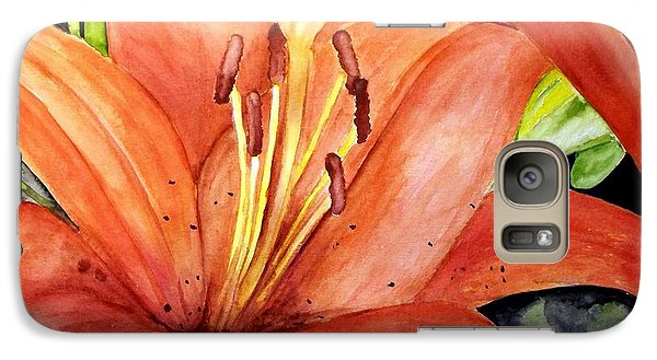 Galaxy Case featuring the painting Large Orange Lily by Carol Grimes