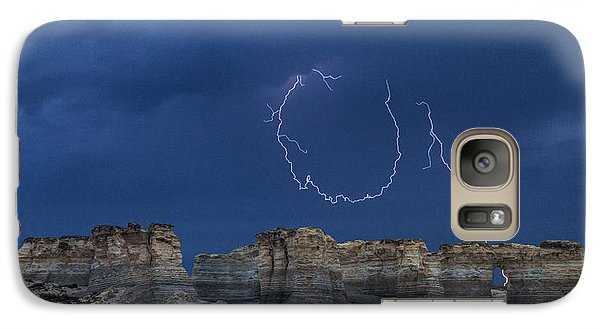 Galaxy Case featuring the photograph Lariat Lightning At Monument Rocks by Rob Graham
