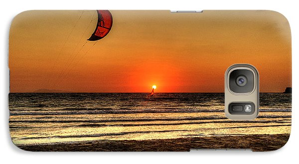 Galaxy Case featuring the photograph Last Glipses Of Sun At Prasonisi Bay by Julis Simo
