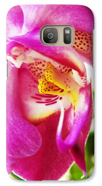 Galaxy Case featuring the photograph Last Orchid Waves Goodbye by Judy Via-Wolff