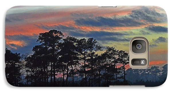 Galaxy Case featuring the photograph Late Sunset Trees In The Mist by Bill Swartwout
