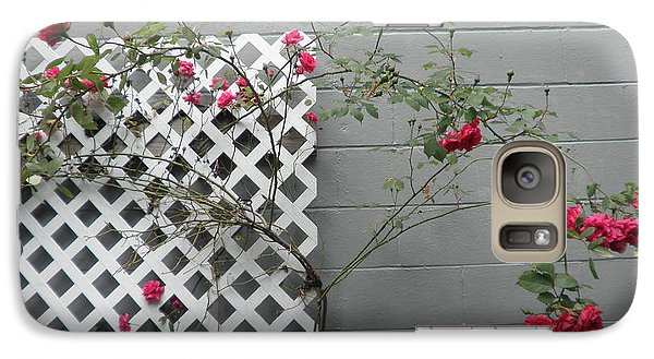 Galaxy Case featuring the photograph Lattice Smell The Roses by Suzanne McKay