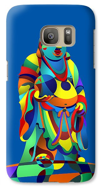 Galaxy Case featuring the digital art Laughing Buddha Blue by Randall Henrie