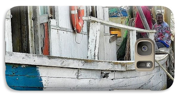 Galaxy Case featuring the photograph Laughs On A Shrimpboat by Patricia Greer