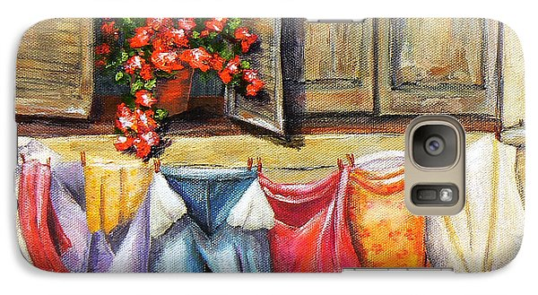 Galaxy Case featuring the painting Laundry Day In The Villa by Terry Taylor