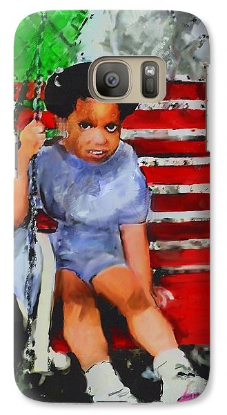 Galaxy Case featuring the painting Lauren On The Swing by Vannetta Ferguson
