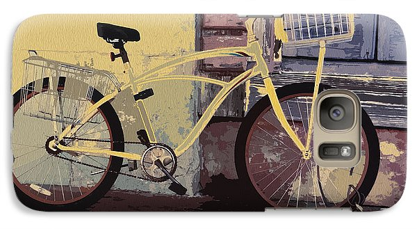 Galaxy Case featuring the photograph Lavender Door And Yellow Bike by Ecinja Art Works