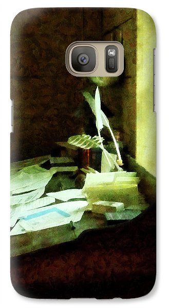 Galaxy Case featuring the photograph Lawyer - Desk With Quills And Papers by Susan Savad