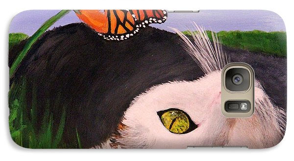 Galaxy Case featuring the painting Lazing In The Grass by Janet Greer Sammons