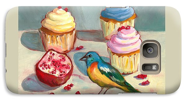 Galaxy Case featuring the painting Lazuli Bunting And Pomegranate Cupcakes by Susan Thomas