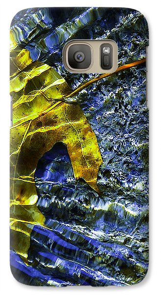 Galaxy Case featuring the photograph Leaf In Creek - Blue Abstract by Darryl Dalton