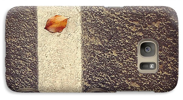 Galaxy Case featuring the photograph Leaf On The Line by Meghan at FireBonnet Art