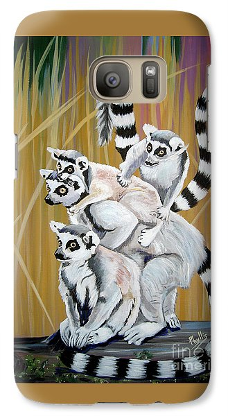 Galaxy Case featuring the painting Leapin Lemurs by Phyllis Kaltenbach
