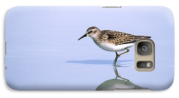 Galaxy Case featuring the photograph Least Sandpiper With Reflection And Shadow by Bradford Martin